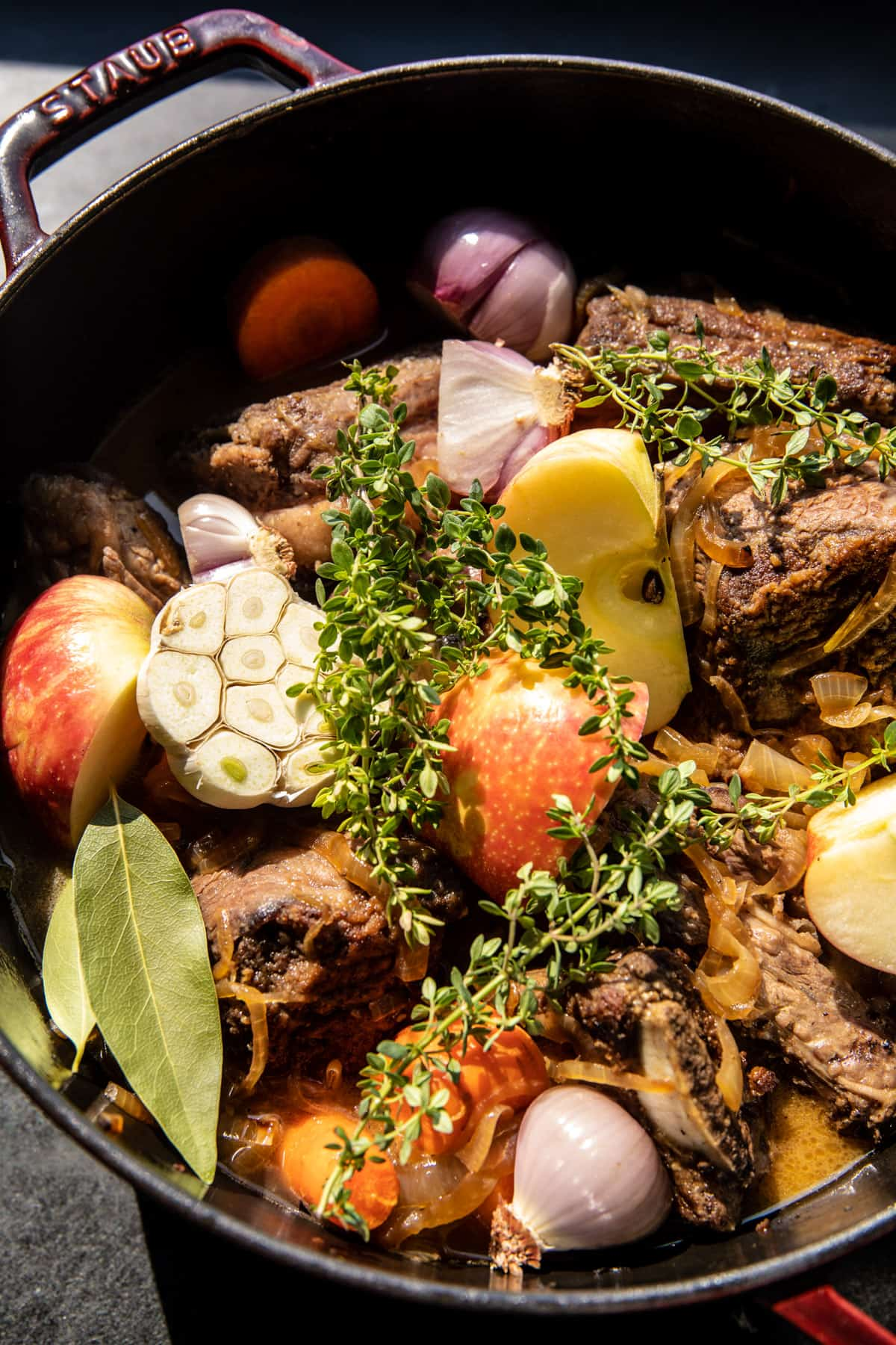Cider Braised Short Ribs with Caramelized Onions | halffbakedharvest.com