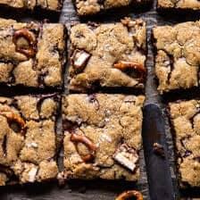 Pretzel Snickers Chocolate Chip Cookie Bars | halfbakedharvest.com