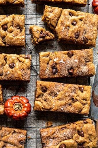 Pumpkin Butter Chocolate Chip Blondies | halfbakedharvest.com