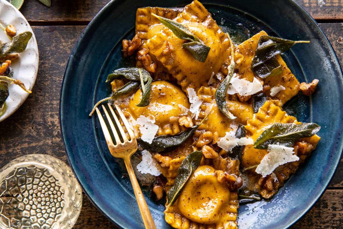 Sage Butter Pumpkin Cheese Ravioli | halfbakedharvest.com