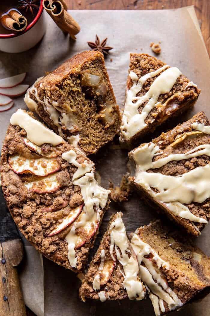 Salted Bourbon Apple Crumble Coffee Cake.