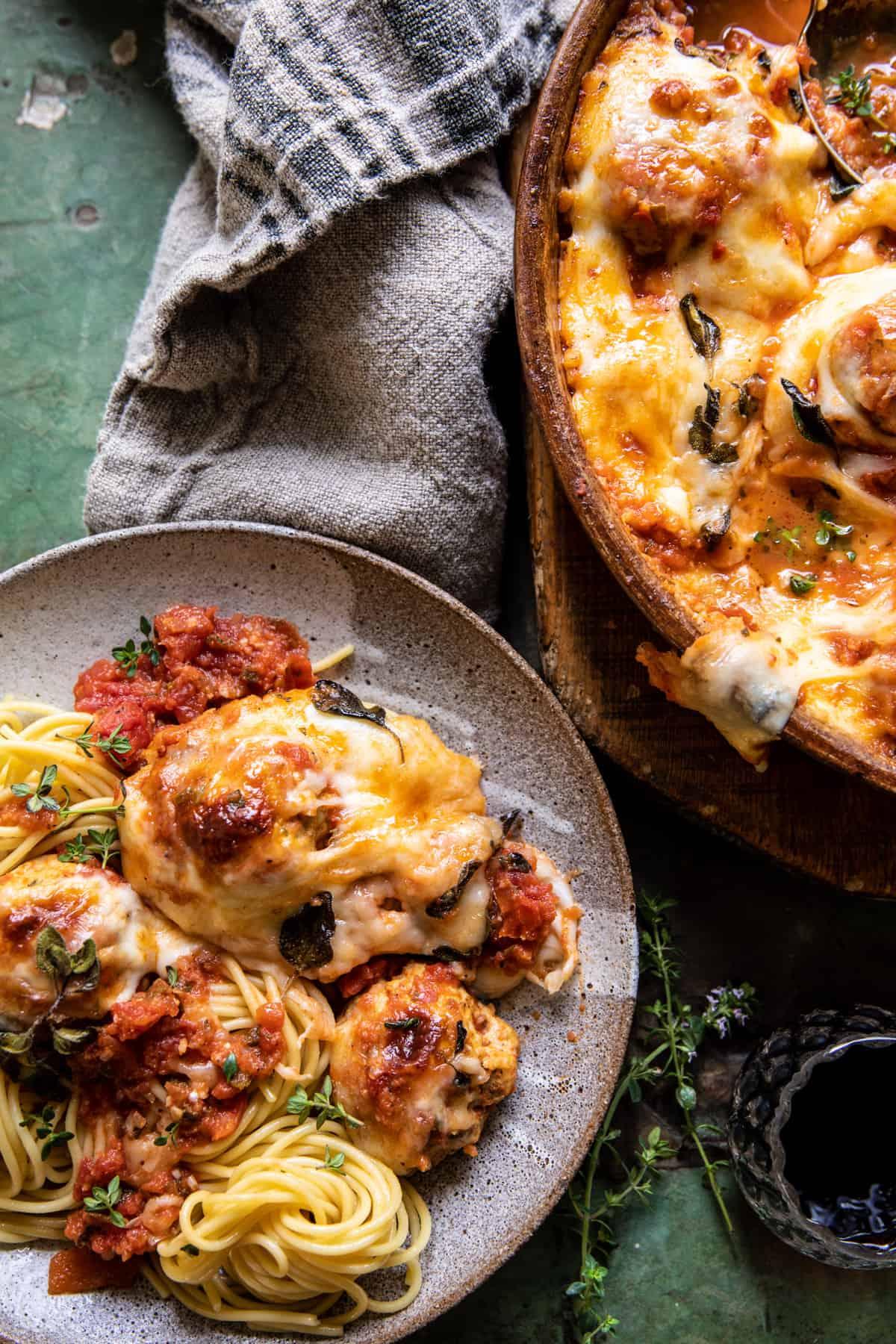 Simple Baked Cheesy Italian Chicken Meatballs | halfbakedharvest.com